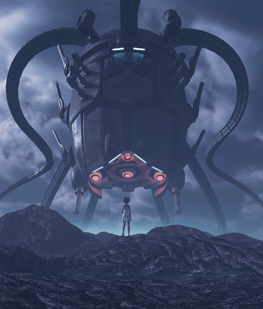 Girl looking to a giant alien ship in front of her,3d illustration Stok Fotoğraf
