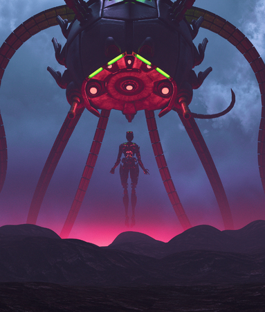 Robot with a giant alien ship,3d illustration