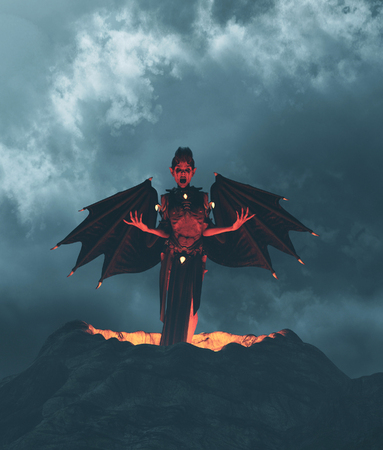 Devil flying out from crater,3d illustration