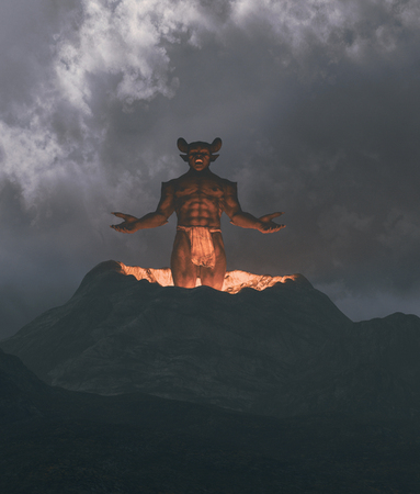 Demon flying out from crater,3d illustration