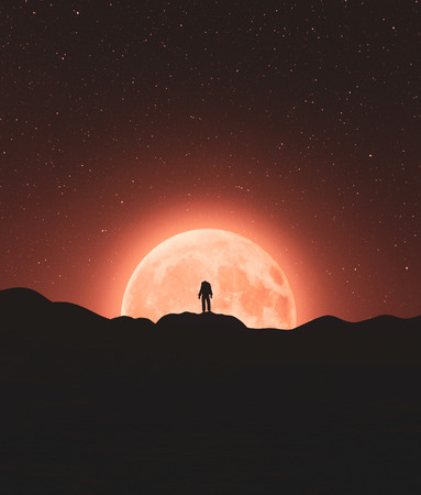 Astronaut on top of a mountain peak with big moon,3d rendering