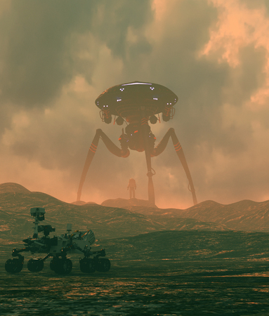 Astronaut looking to a giant alien ship,3d illustration