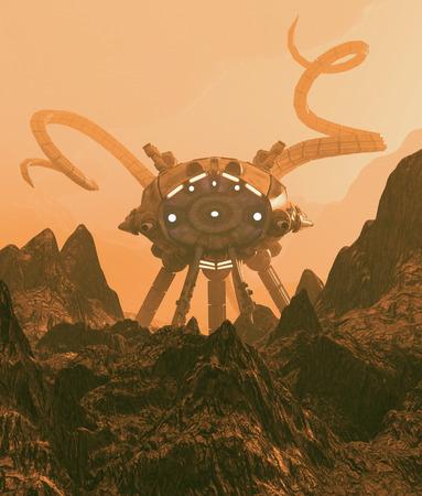 Giant alien ship,3d illustration