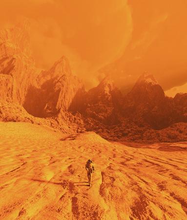 Astronaut walking on mars,3d illustration