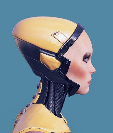 Portrait of a cyborg woman,3d rendering