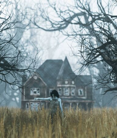 Ghost girl with haunted house scene in creepy forest,3d illustration