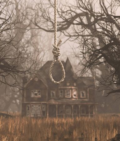 Rope noose hanging in creepy forest with haunted scene,3d rendering