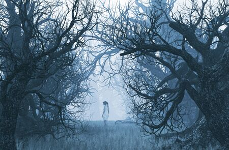 Girl lost in creepy forest,3d illustration Stok Fotoğraf