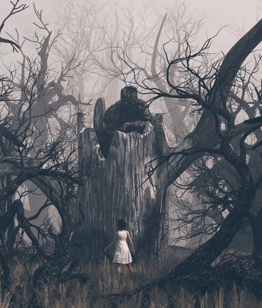 Girl staring at a ghost tree in creepy forest,3d illustration Stok Fotoğraf