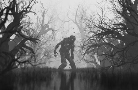 Monster im gruseligen Wald, 3D-Darstellung