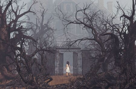 Girl enter to haunted manor,3d illustration Stock Photo