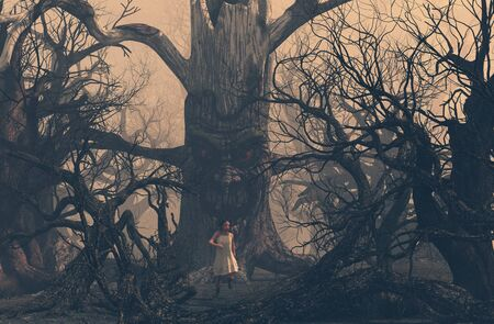 Girl running away from ghost tree in creepy forest,3d illustration