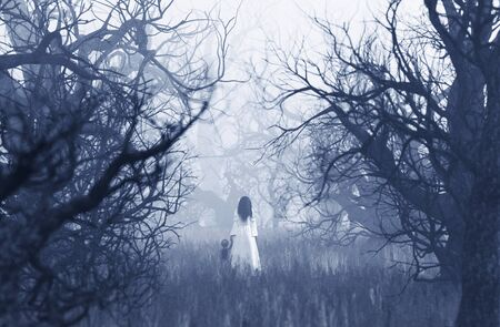 Woman in white dress with the boy walking in haunted forest,3d rendering