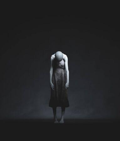 Ghost woman in the dark,3d rendering