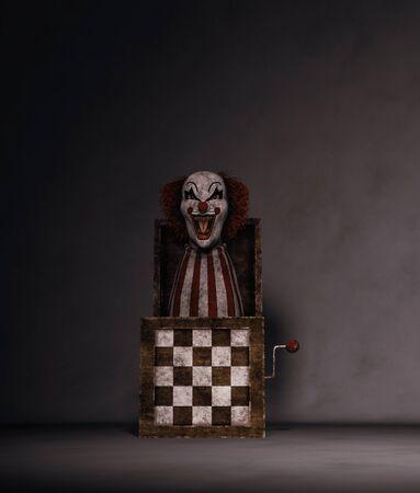 Clowns toy in dark room,3d rendering
