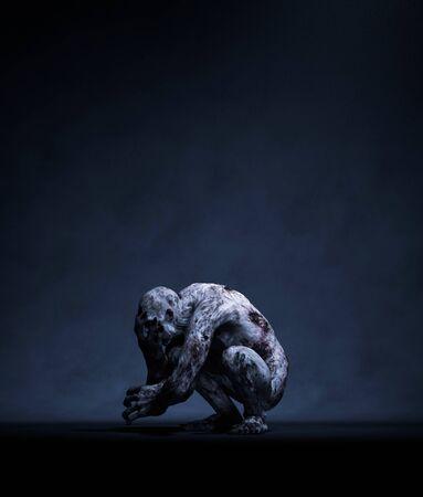 3d rendering of a Monster in the dark Stok Fotoğraf