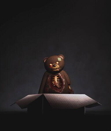 Scary toy bear in open cardboard box in the dark,3d rendering