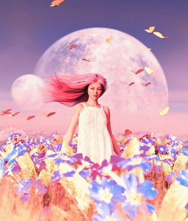 Woman in flower field,3d rendering Stok Fotoğraf