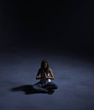 Woman meditation in the dark,3d rendering Stok Fotoğraf