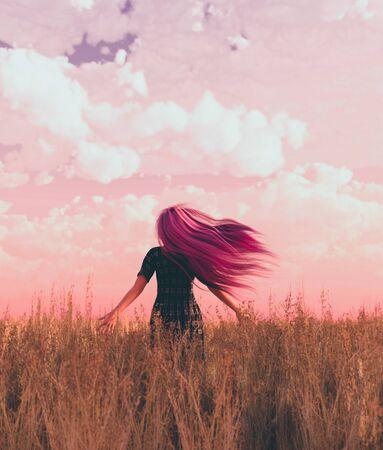 Woman in grass field,3d rendering Stok Fotoğraf