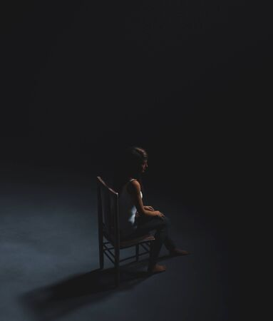 Scared woman sitting on the chair in the dark,3d rendering
