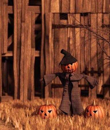 Scarecrow pumpkin in front of old barn,3d rendering