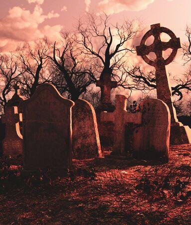 Scary scene of Haunted graveyard,3d rendering