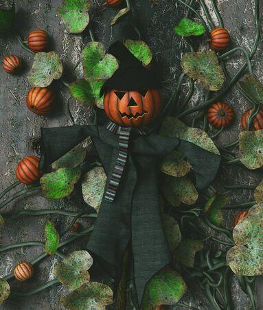 Scarecrow pumpkin decorated on pumpkin vines,3d rendering