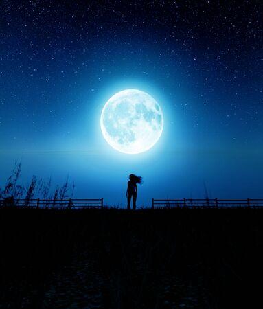 Girl walking to the moon in starry night,3d rendering Stok Fotoğraf