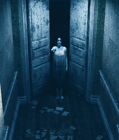 3d illustration of ghost woman in haunted house Archivio Fotografico - 130339391
