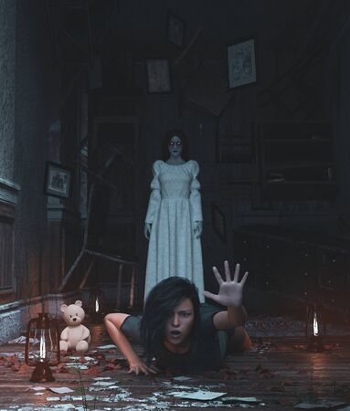 Girl is being terrified by malicious evil who living in a haunted house,3d rendering