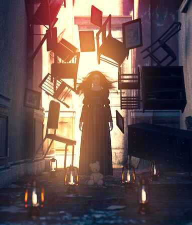 Ghost woman in black dress with things floating in haunted house,3d rendering