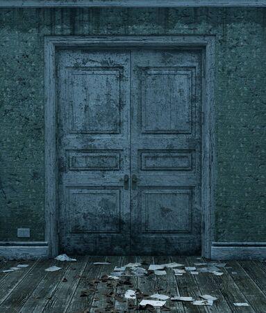 Portes d'une maison hantée, rendu 3d