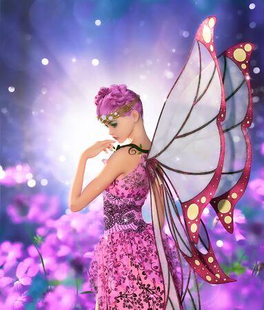 Pixie in fantasyland,3d illustration