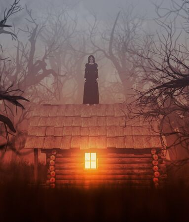 Ghost woman in black standing on the roof of a cabin in creepy forest,3d rendering Stock Photo