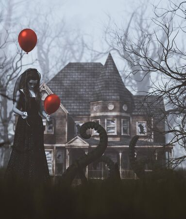 Ghost woman in black with red balloons in creepy forest,3d rendering
