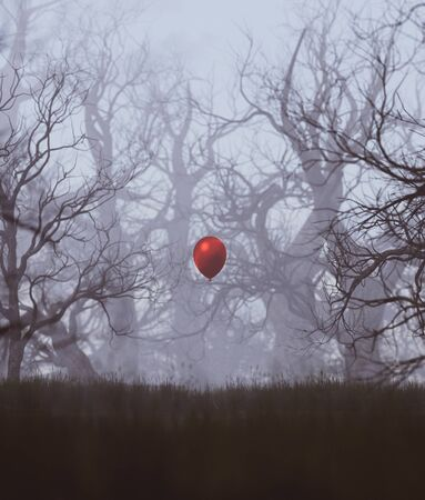 Red balloon in haunted forest,3d rendering