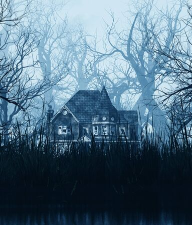 haunted house scene in creepy forest,3d illustration