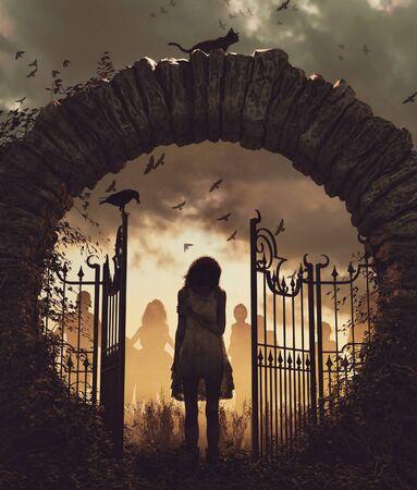Ghost girl at the gate,3d illustration for book cover,vertical Reklamní fotografie