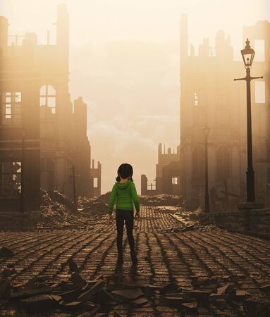 Girl walking alone in abandoned city,3d rendering Stock fotó