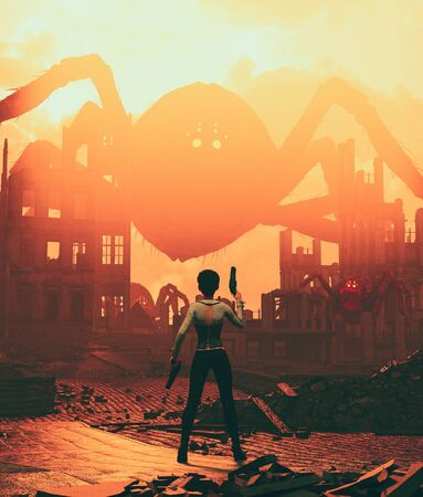 Sci-fi fiction girl with pistols fighting with giant spider in ruined city,3d illustration for book cover Stock fotó
