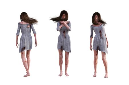 Set of 3d ghost girl isolated on white background,3d rendering
