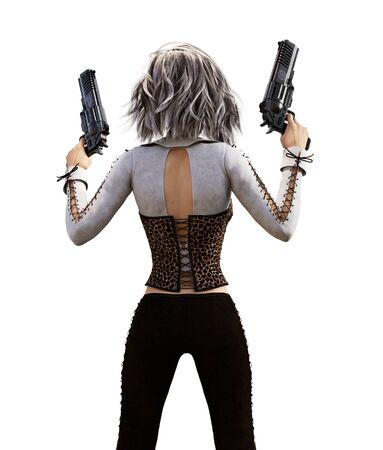 Girl with pistols,3d illustration for book cover