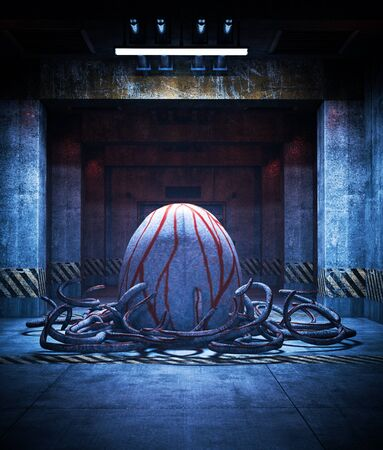 Horror is born,An egg of creatures in restricted area,3d illustration