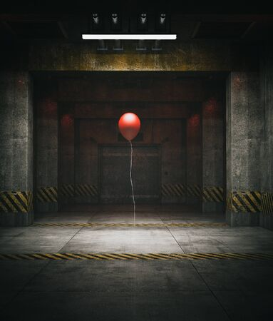Red balloon in restricted area,3d illustration