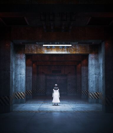 3d illustration of ghost girl in restricted area