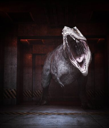 Aggressive dinosaur in restricted area,3d rendering