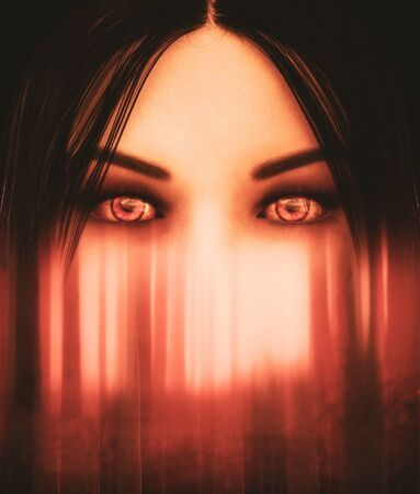 Face of ghost woman in haunted forest,3d illustration for book cover design Imagens