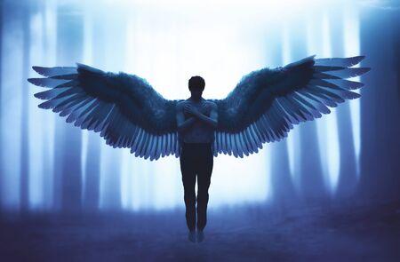 Un ange dans la forêt mystique, illustration 3d