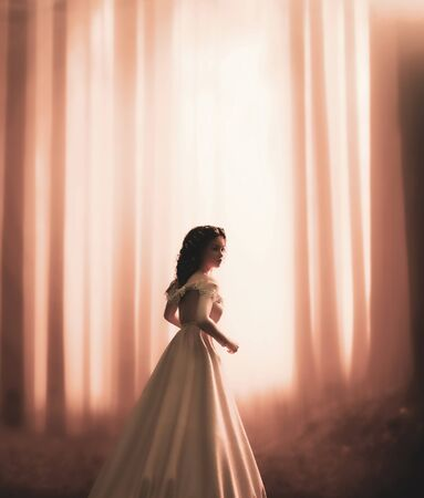 Woman walking in mystic forest,3d illustration Zdjęcie Seryjne